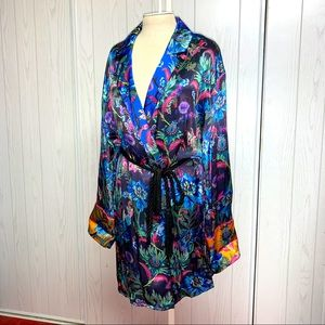 FLORAL H & M ROBE COAT DRESS SHIRT